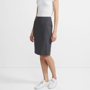 Theory Stretch Wool Charcoal Gray Pencil Skirt